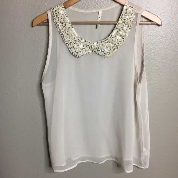 b jewel Tops - Gold Collar Chiffon Cream Tank